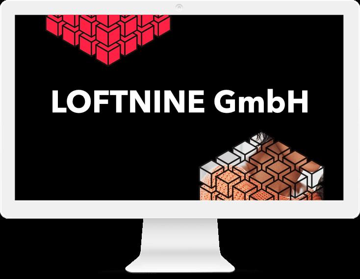 Monitor auf der Home Seite, LOFTNINE header Image, Webdesign
